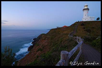 The Cape Byron Lighthouse on sunrise, Cape Byron, Bypon Bay, NSW, Australia