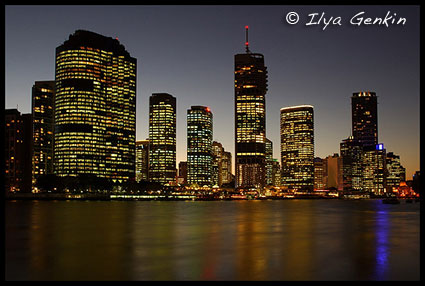 City at Night, View from the Kangaroo Point, Brisbane, QLD, Australia
