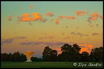 Sunset, Radio Antenna Dishes, Радиотелескоп, Australian Telescope Compact Array, Narrabri, NSW, Australia