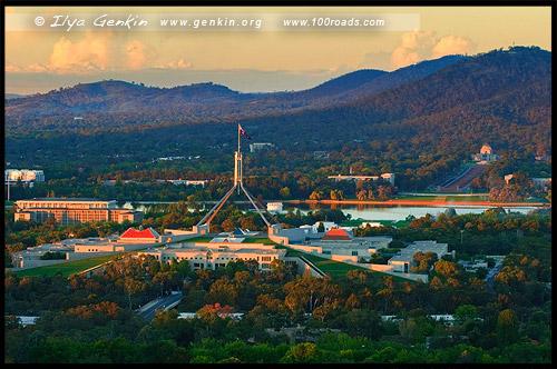 Вид с обзорной площадки Красного Холма, View from Red Hill Lookout, Дом правительства, Parliament House, Канберра, Canberra, Австралийская столичная территория, ACT, Австралия, Australia
