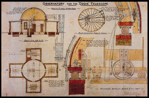 Схема здания, телескоп Одди, Oddie telescope, Обсерватория Маунт-Стромло, Mount Stromlo Observatory, Канберра, Canberra, Австралийская столичная территория, ACT, Австралия, Australia