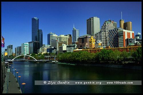 Вид на берег Ярры и Южный Берег с Моста Принца, View on Yarra and Southbank Promenade from Princes Bridge, Мельбурн, Melbourne, Австралия, Australia