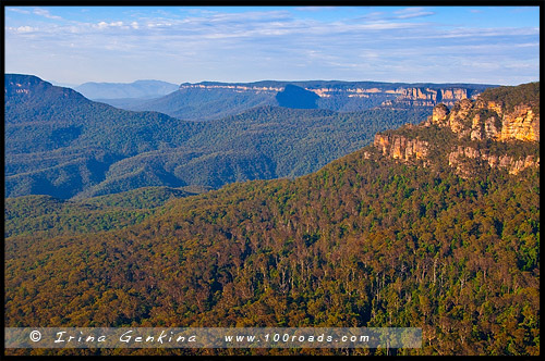 Три сестры, Three Sisters, Elysian Rock Lookout, Леура, Leura, Голубые Горы, Blue Mountains, Новый Южный Уэльс, NSW, Австралия, Australia