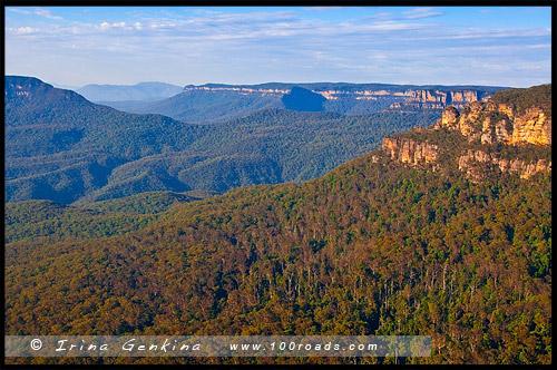 Три сестры, Three Sisters, Elysian Rock Lookout, Леура, Leura, Голубые Горы, Blue Mountains, Новый Южный Уэльс, NSW, Австралия, Australia