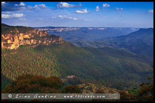 Три сестры, Three Sisters, Видова точка Хохлатый орёл, Eagle Hawk Lookout, Катумба, Katoomba, Голубые Горы, Blue Mountains, Новый Южный Уэльс, NSW, Австралия, Australia