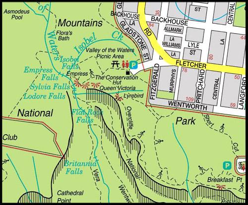 <Карта Долины Вод, Map of The Valley of the Waters, Водопады Вентворт, Вентворт Фолс, Wentworth Falls, Голубые Горы, Blue Mountains, Новый Южный Уэльс, NSW, Австралия, Australia