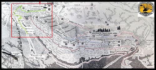 <Карта-схема треков у Вентворт Фолс, Водопады Вентворт, Вентворт Фолс, Wentworth Falls, Голубые Горы, Blue Mountains, Новый Южный Уэльс, NSW, Австралия, Australia