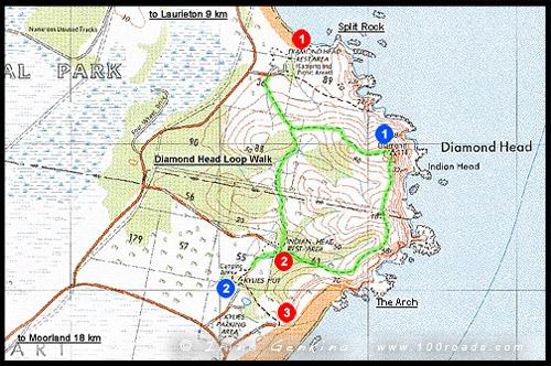 Карта-схема Бриллиантового Мыса, Map of Diamond Head, Национальный парк Крауди Бэй, Crowdy Bay National Park, Новый Южный Уэльс, NSW, Австралия, Australia