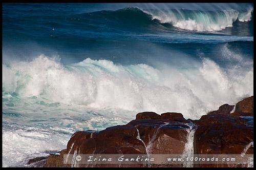 Волны на Мысе Фингал, Fingal Head, Залив Фингал, Fingal Bay, Порт Стивенс, Порт Стефенс, Port Stephens, Новый Южный Уэльс, NSW, Австралия, Australia