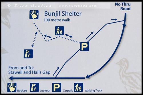 Схема тропы к Укрытию Банджил, Bunjils Shelter, Парк Грэмпианс, Парк Грэмпианс, Grampians Natonal Park, Виктория, Victoria, VIC, Австралия, Australia
