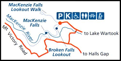 Схема тропы к Водопаду Маккензи, MacKenzie Falls, Парк Грэмпианс, Парк Грэмпианс, Grampians Natonal Park, Виктория, Victoria, VIC, Австралия, Australia