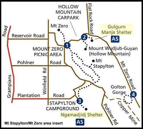 Карта-схема района Mt. Zero и Mt. Stapylton, Map of area Mt. Zero and Mt. Stapylton, Парк Грэмпианс, Grampians Natonal Park, Виктория, Victoria, VIC, Австралия, Australia