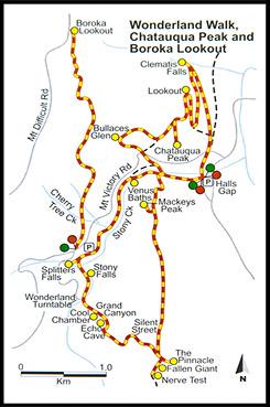 Схема треков, Map of wolks, Страна чудес, Wonderland, Парк Грэмпианс, Grampians Natonal Park, Виктория, Victoria, VIC, Австралия, Australia
