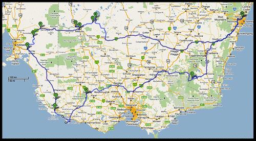 Маршрут Новогодне-Рождественского путешествия, 2010, Австралия, Australia