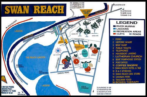 Схема городка Свон Рич, Scheme of Swan Reach, Мюррей, Murray, Южная Австралия, South Australia, SA, Австралия, Australia