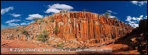 Панорама Водопада Колай Мирика, Kolay Mirica Falls, Горная цепь Гавлер, Gawler Ranges, Полуостров Эйр, Eyre Peninsula, Южная Australia, South Australia, Австралия, Australia
