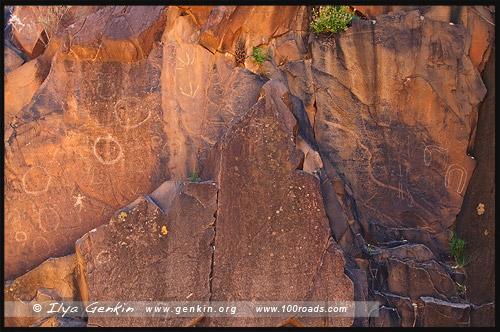 Накскальные рисунки, Священный каньон, Sacred Canyon, Северная цепь гор Флиндерс, Northern Flinders Ranges, Аутбек, Аутбэк, Outback, Южная Australia, South Australia, Австралия, Australia