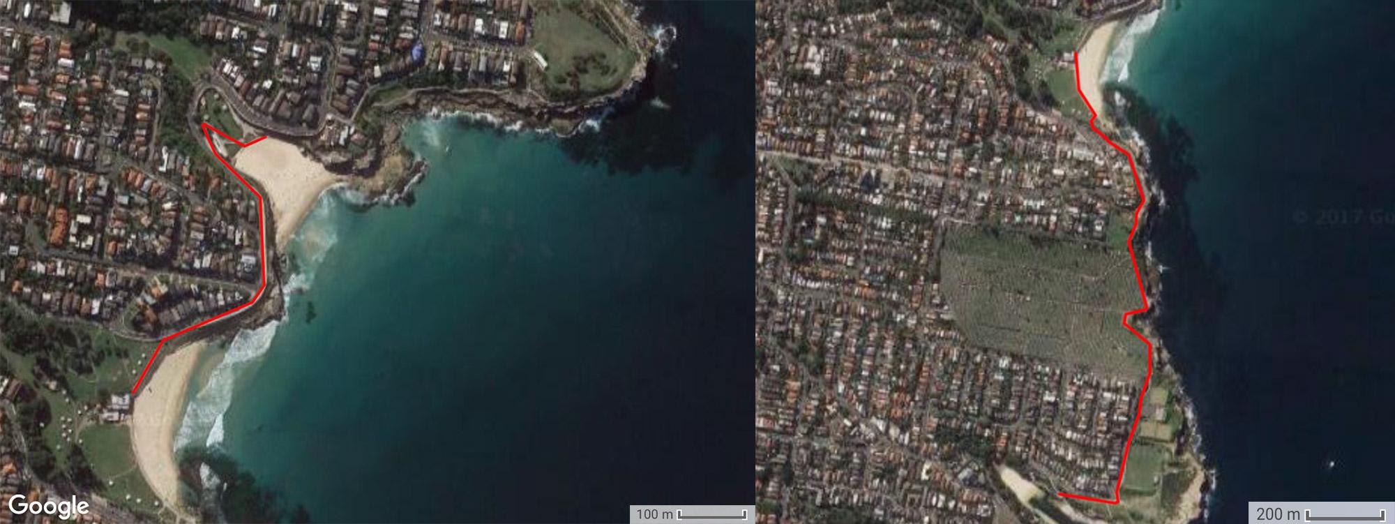 Трек маршрута, Tamarama - Bronte - Clovelly, Бондай - Куджи, Bondi to Coogee, Восточные пляжи, East Beaches, Сидней, Sydney, Новый Южный Уэльс, New South Wales, Австралия, Australia