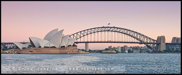 Сиднейский оперный театр, The Sydney Opera House, Мост Сиднейской Гавани, Харбор Бридж, Хаба Бридж, Harbour Bridge, Закат, Sunset, Сидней, Sydney, Австралия, Australia