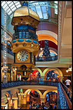 Большие Австралийские Часы, The Great Australian Clock, Рождественская елка, Swarovski Xmas Tree, Здание Королевы Виктории, Queen Victoria Building, Сидней, Sydney, Австралия, Australia