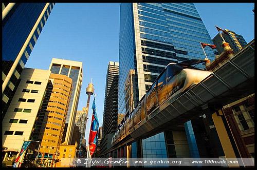 Сиднейский монорельс, Sydney Monorail, public transport, Сидней, Sydney, Австралия, Australia
