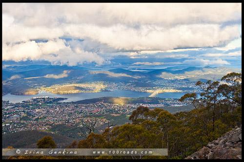 Вид на Хобарт, Гора Веллингтон, Mt Wellington, Тасмания, Tasmania, Австралия, Australia