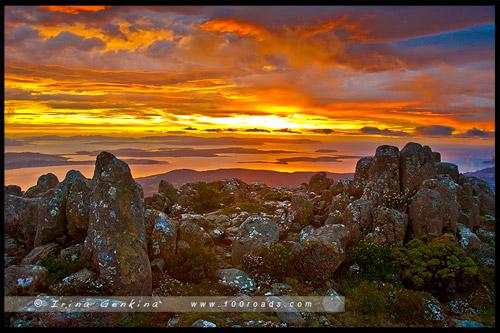 Рассвет, Гора Веллингтон, Mt Wellington, Тасмания, Tasmania, Австралия, Australia