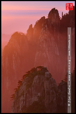 Рассвет с видовой площадки - Каменная обезьяна вглядывается в море облаков, Sunrise from viewing platform - Stone Monkey Gazing over the Sea of Clouds, 猴子观海, Хуаншань, Huangshan, 黄山, Китай, China, 中國, 中国