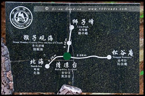 Схема тропинок и видовых площадок в районе Северного Моря Облаков, Scheme of View Points at North Sea Clouds, Хуаншань, Huangshan, 黄山, Китай, China, 中國, 中国