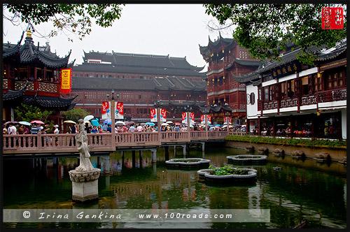 Лотосовый пруд в открытый саду Ю, Шанхай, Yuyuan Garden, Shanghai, 上海, Китай, China, 中國, 中国