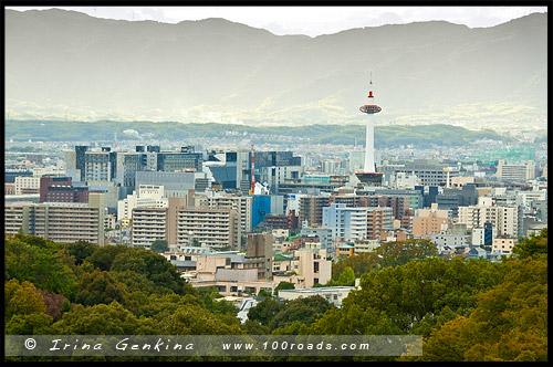 Вид на вечерний Киото от Храма Киёмидзу, Kyoto Tower Reflections, Киото, Kyoto, 京都市, регион Кансай, Kansai, Хонсю, Honshu Island, 本州, Япония, Japan, 日本