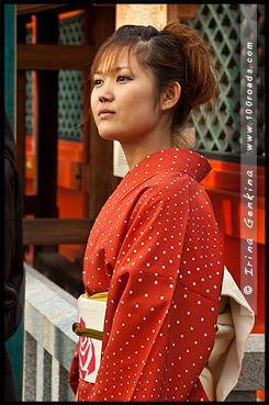 Девушка в кимоно, Японка в кимоно, кимоно, 着物, kimono, Киёмидзудэра, Kiyomizu-dera, 清水寺, Хигасияма, Higashiyama ,東山区, Киото, Kyoto, 京都市, Кансай, Kansai, 関西地方, Хонсю, Honshu Island, 本州, Япония, Japan, 日本