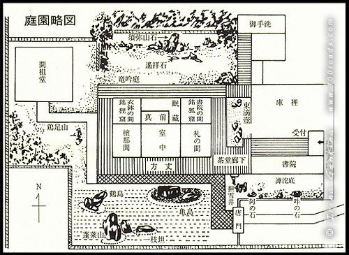 Карта-схема храма, Рюген-ин, Ryogen-in, 龍源院, Дайтоку-дзи, Daitoku-ji, 大徳寺, Киото, Kyoto, 京都市, регион Кансай, Kansai, Хонсю, Honshu Island, 本州, Япония, Japan, 日本