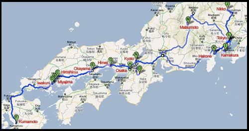 Карта-схема маршрута путешествия по Японии