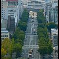 Вид на улицу Otemae, что ведет к вокзалу, Замок Химедзи, Himeji Castle