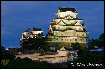 Himeji Castle at Night, Hyogo Prefecture, Kansai region, Honshu Island, Japan