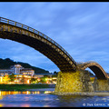 Kintai-kyo (Kintai Bridge) at Night, Iwakuni, Honshu, Japan