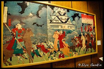 Картина изображающая фрагмент Сацумского Восстания, Музей Замка Кумамото, Кумамото, Кусю, Япония
