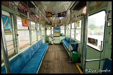 Салон трамвая, Кумамото, Кусю, Япония