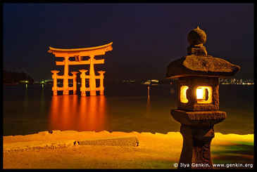O-Torii (Grand Gate) and Stone Lantern at Night, Itsukushima Shrine, Miyajima, Honshu, Japan