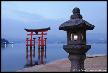 O-Torii (Grand Gate) and Stone Lantern at Dawn, Itsukushima Shrine, Miyajima, Honshu, Japan