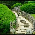 Stairs to the Yuishinzan Hill, Korakuen Garden, Okayama, Honshu, Japan