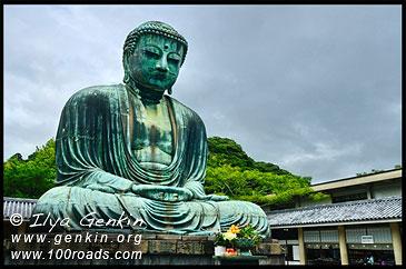 Дайбуцу крупный план (бронзовая статуя Великого Будды), храм Котоку-ин, Камакура, Япония,The Great Buddha (Daibutsu) of Kamakura, Kotoku-in Temple, Kamakura, Honshu, Japan