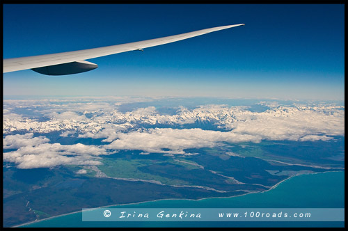 Новая Зеландия под крылом самолета, Южный остров, South Island, Новая Зеландия, New Zealand