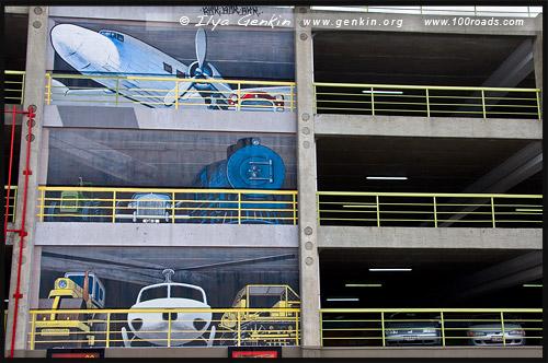 Оформление парковки, Крайстчёрч, Christchurch, Южный остров, South Island, Новая Зеландия, New Zealand