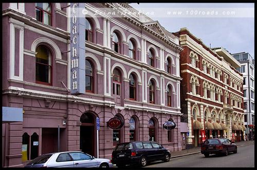 Здания по улице Глостер (Gloucester St), Крайстчёрч, Christchurch, Южный остров, South Island, Новая Зеландия, New Zealand