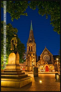 Памятник Джону Роберту Годли, Соборная площадь, Cathedral Square, Крайстчёрч, Christchurch, Южный остров, South Island, Новая Зеландия, New Zealand