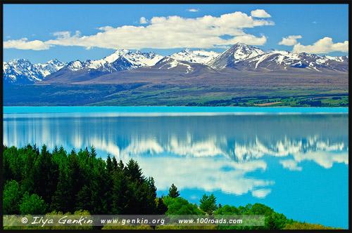 Озеро Пукаки, Lake Pukaki, Южный остров, South Island, Новая Зеландия, New Zealand