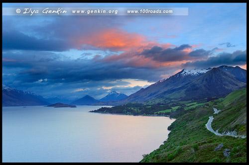 Смотровая площадка Bennetts Bluff, Bennetts Bluff Lookout, Озеро Вакатипу, Lake Wakatipu, Южный остров, South Island, Новая Зеландия, New Zealand
