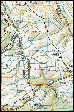 Карта Водопада Пуракаунуи, Пу Ракау Нуи, Перакауни, Purakaunui Falls Map, The Catlins, Southland Region, Южный остров, South Island, Новая Зеландия, New Zealand